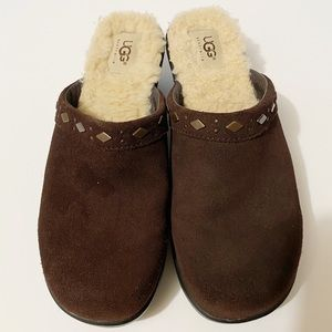 UGG Brown Suede Leather Fur Lined Mule Clogs
